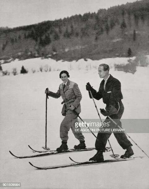 Princess Ileana of Romania and Count Alexander von Hochberg of Pless her first fiance skiing in Predeal Transylvania Romania from L'Illustrazione...