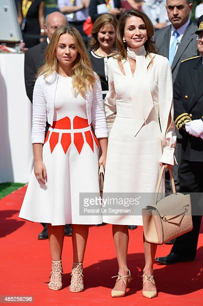 Princess Iman Bint Abdullah of Jordan and Queen Rania of Jordan attend the Medef Summer 2015 University Conference on August 26 2015 in JouyenJosas...