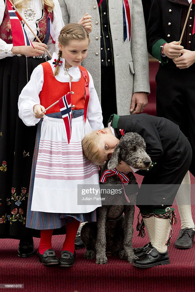 Princess Ingrid Alexandra, and Prince Sverre Magnus, and Family Dog,Milly Kakao, celebrate Norway National Day at The Crown Prince couples residence, Skaugum, in Asker, near Oslo on May 17, 2013 in Asker, Norway.