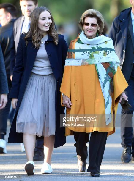 Princess Ingrid Alexandra and Queen Sonja attend Ingrid Alexandra's Sculpture Park where the final sculptures have been installed on September 17...