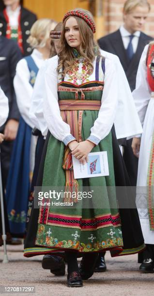 Princess Ingrid Alexandra attends Prince Sverre Magnus' Confirmation service in Asker Church on September 5, 2020 in Oslo, Norway.