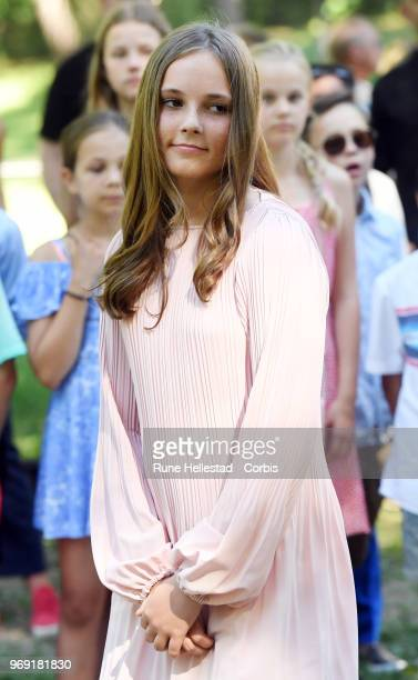 Queen Sonja and Princess Ingrid Alexandra attend the unveiling of sculptures in the Princess Ingrid Alexandra's Sculpture Park on June 7 2018 in Oslo...