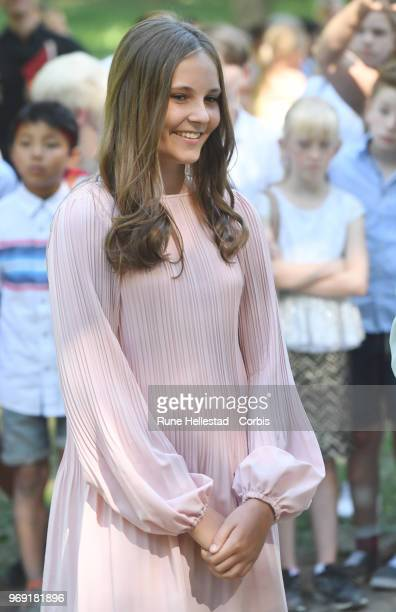 Princess Ingrid Alexandra attends the unveiling of sculptures in the Princess Ingrid Alexandra's Sculpture Park on June 7 2018 in Oslo Norway