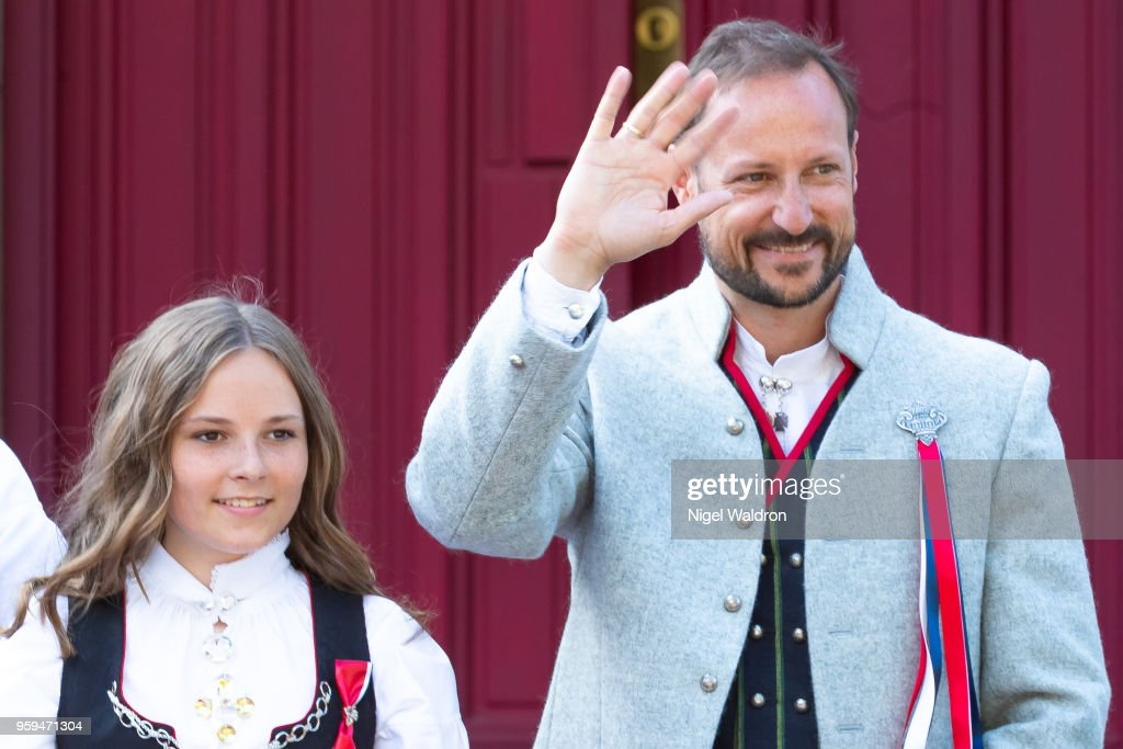 Princess Ingrid Alexandra of Norway and Prince Haakon Magnus of Norway outside their home at Skaugum Farm in Asker during Norway's National Day on May 17, 2018 in Oslo, Norway.