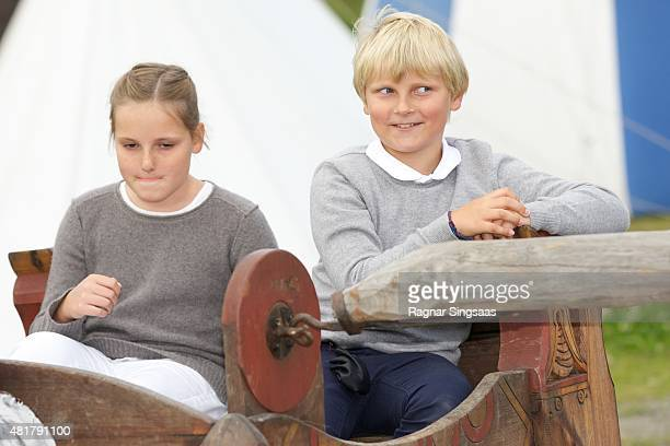 Princess Ingrid Alexandra of Norway and Prince Sverre Magnus of Norway attend The Saint Olav Festival on July 24 2015 in Stiklestad Norway