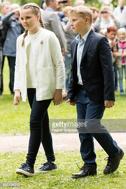 Princess Ingrid Alexandra of Norway and Prince Sverre Magnus of Norway attend the opening of The Princess Ingrid Alexandra Sculpture Park on May 19...