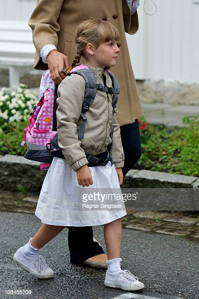 Princess Ingrid Alexandra of Norway attends her first day at school at Janslokka Skole on August 19 2010 in Asker Norway