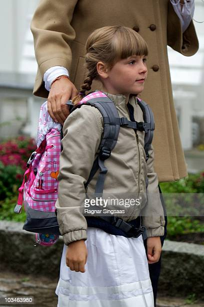 Princess Ingrid Alexandra of Norway attends her first day at school at Janslokka Skole on August 19, 2010 in Asker, Norway.