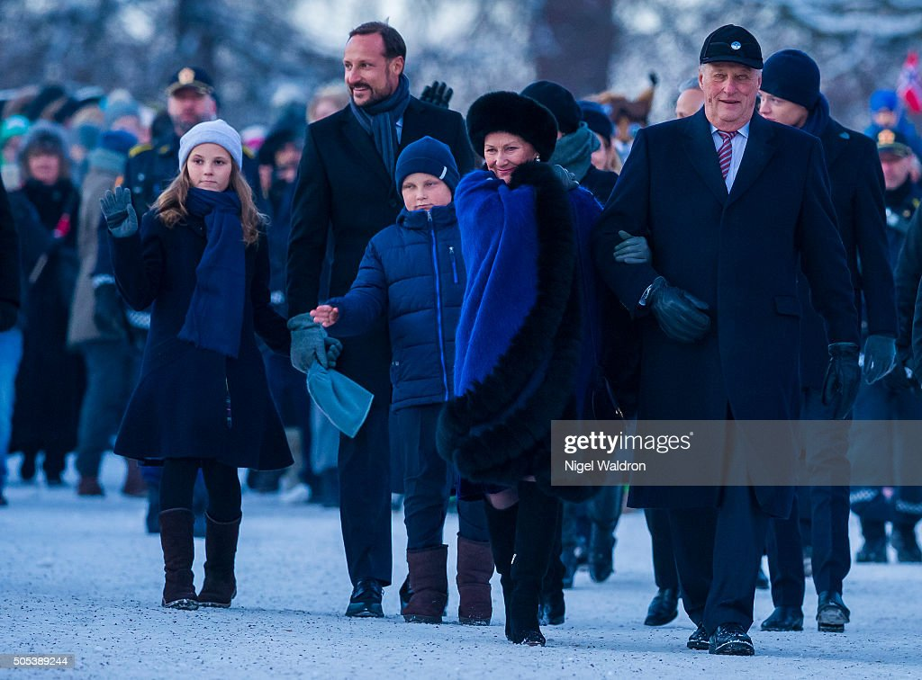 L-R Princess Ingrid Alexandra of Norway, Crown Prince Haakon of Norway,Prince Sverre Magnus of Norway, Queen Sonja of Norway and King Harald of Norway walk from the royal palace to the university for the gala reception during the Celebration of the 25th anniversary of King Harald and Queen Sonja of Norway on January 17, 2016 in Oslo, Norway.