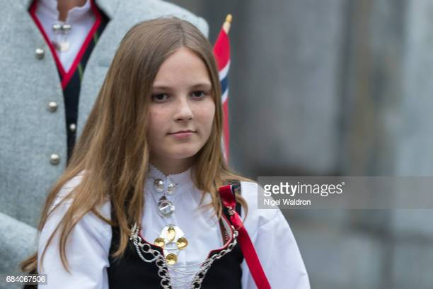 Princess Ingrid Alexandra of Norway greets the children in the parade at their home Skaugum on Norway's National Day on May 17 2017 in Asker Norway