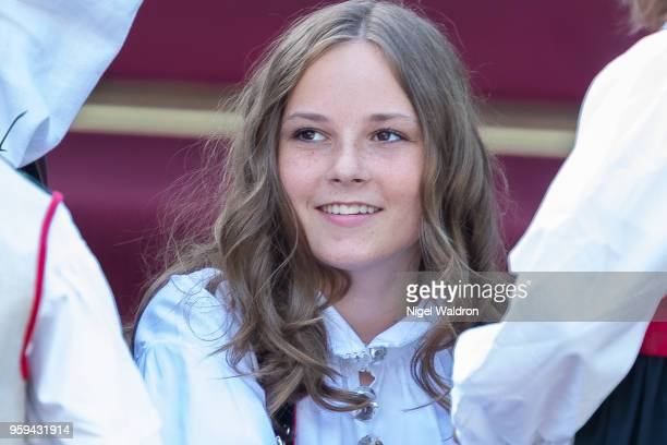 Princess Ingrid Alexandra of Norway looks on during the childrens parade at Skaugum Asker on Norway's National Day on May 17 2018 in Oslo Norway