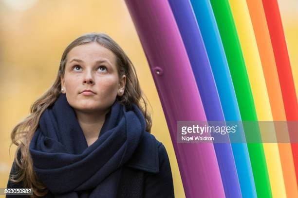 Princess Ingrid Alexandra of Norway looks on during the unveiling of new sculptures in Princess Ingrid Alexandra sculpture park at the Palace park on...