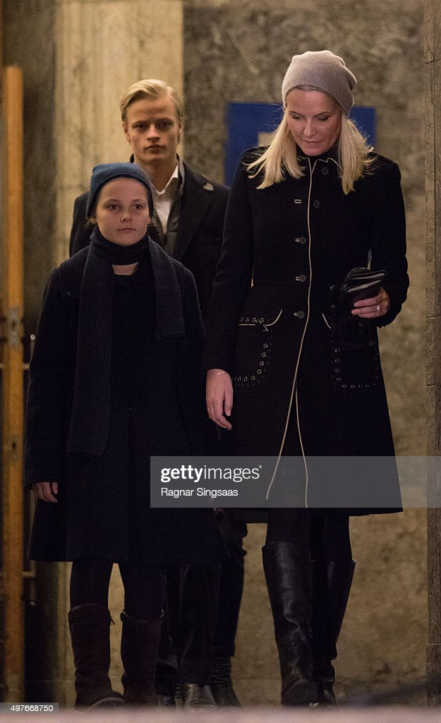 Princess Ingrid Alexandra of Norway, Marius Borg Hoiby and Crown Princess Mette-Marit of Norway attend a Paris Memorial on November 17, 2015 in Oslo, Norway.