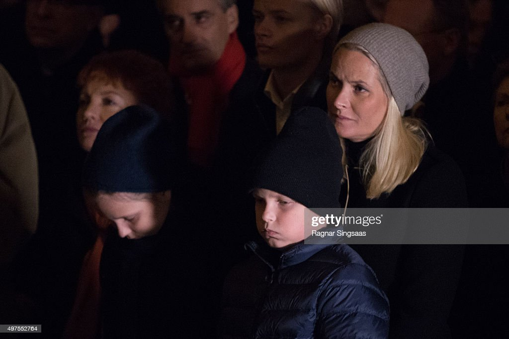Princess Ingrid Alexandra of Norway, Prince Sverre Magnus of Norway and Crown Princess Mette-Marit of Norway attend a Paris Memorial on November 17, 2015 in Oslo, Norway.