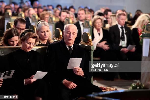 Princess Ingrid Alexandra Queen Sonja Crown Princess MetteMarit and King Harald attend the funeral of Ari Behn exhusband of Norway's Princess Martha...