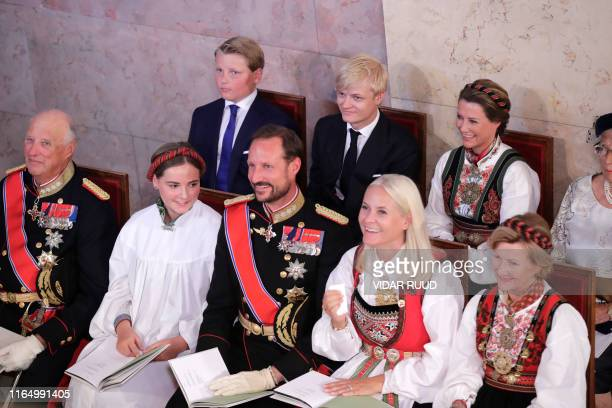 Princess Ingrid Alexandra sits next to Queen Sonja Crown Princess MetteMarit Crown Prince Haakon Princess Ingrid Alexandra King Harald V and Princess...