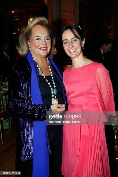 Princess Ira de Furstenberg and her grand Daughter Alix de la Rochefoucauld attend 'Societe des Amis du Musee D'Orsay' Dinner at Musee d'Orsay on...