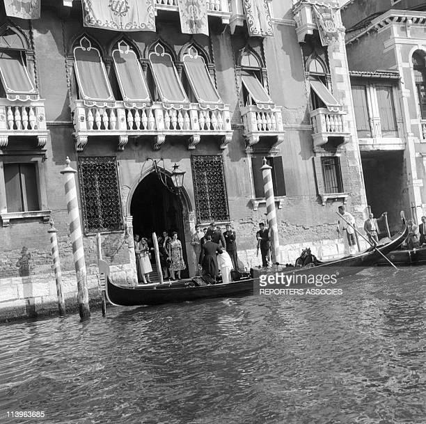Princess Ira of Furstenberg Wedding In Venice Italy On September 17 1955Princess Ira of Furstenberg aboard the wedding gondola