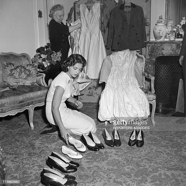 Princess Ira of Furstenberg Wedding In Venice Italy On September 17 1955Princess Ira of Furstenberg preparing her wedding With her shoes and wardrobe