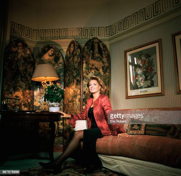 Princess Ira von Furstenberg relaxes in the Hotel Royal Monceau in Paris