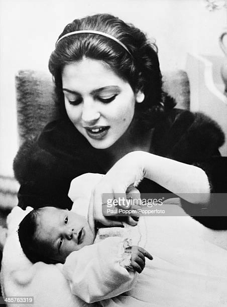 Princess Ira von Furstenberg with her newborn son Prince Christoph of HohenloheLangenburg 15th November 1956 His father is Princess Ira's husband...