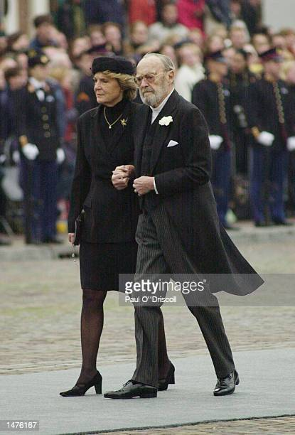 Princess Irena a sister of Queen Beatrix and Prince Bernard the father of Queen Beatrix arrive for the funeral of Prince Claus October 15 2002 in...