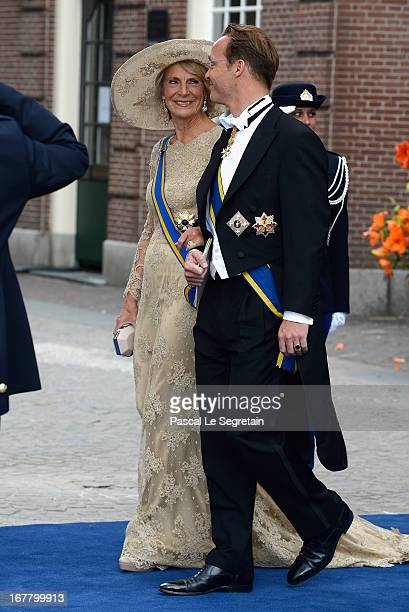 Princess Irene of the Netherlands and Prince Jaime Bernardo Count of Bardi depart the Nieuwe Kerk to return to the Royal Palace after the abdication...