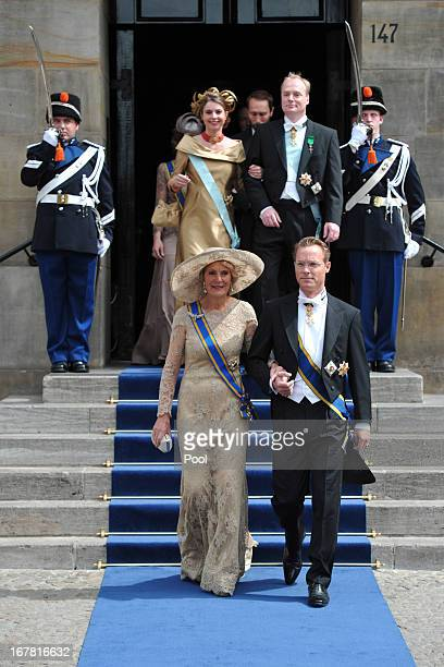 Princess Irene of the Netherlands and Prince Jaime Count of Bardi attend the inauguration ceremony for HM King Willem Alexander of the Netherlands at...