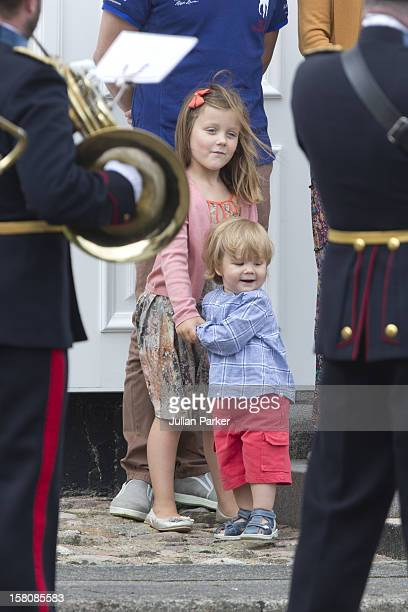 Princess Isabella And Prince Vincent Of Denmark Of The Danish Royal Family Watch The Guard Change At Grasten Palace In Southern Denmark
