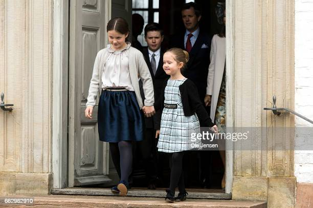 Princess Isabella and Princess Josephine during during Prince Felix' confirmation at Fredensborg Palace church on April 1 2017 in Fredensborg Denmark...