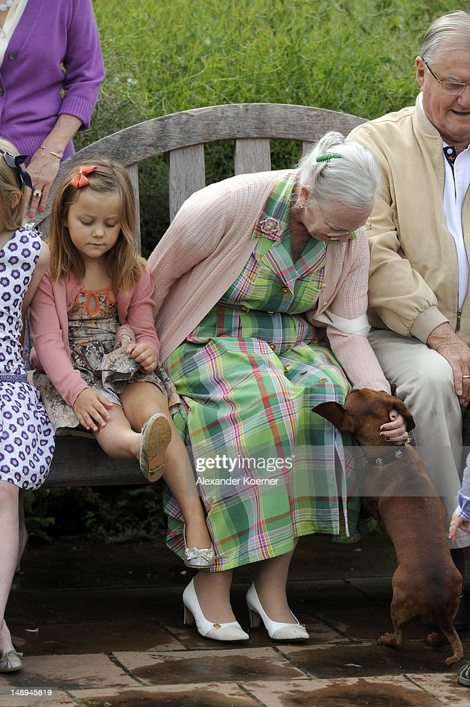 Princess Isabella and Queen Margrethe II. pose during a photocall for the Royal Danish family at their summer residence of Grasten Slot on July 20, 2012 in Grasten, Denmark.