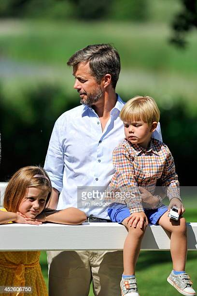 Princess Isabella Crownprince Frederik and Prince Vincent attend the annual summer photo call for the Royal Danish family at Grasten Castle on July...