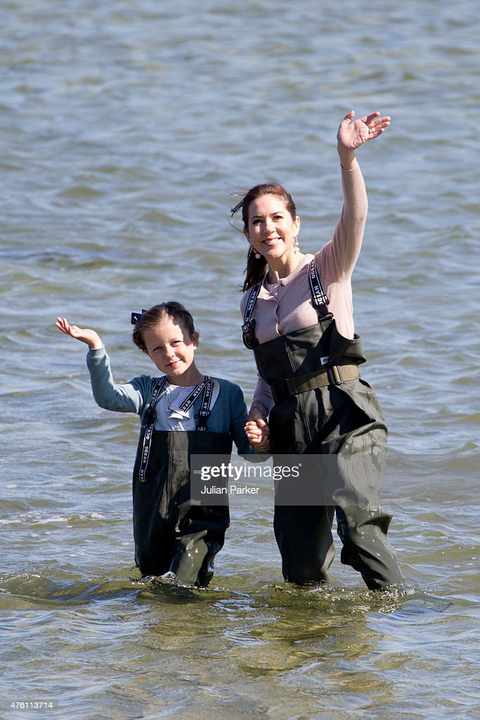 Princess Isabella of Denmark, accompanied by her mother Crown Princess Mary of Denmark visits a nature school, and view fish and shrimps in the estuary, during her first day of official engagements onThe Island Of Samso on June 6th, 2015 in Samso, Denmark