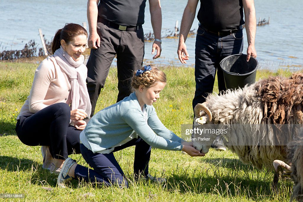 Princess Isabella of Denmark, accompanied by her mother Crown Princess Mary of Denmark visit to a Nature School and Falconry centre during her first day of official engagements onThe Island Of Samso on June 6th, 2015 in Samso, Denmark