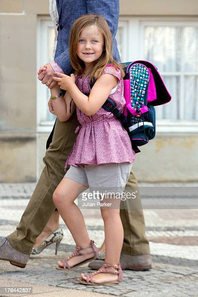 Princess Isabella of Denmark departs Amalienborg Palace for her first day at Tranegard School on August 13 2013 in Copenhagen Denmark