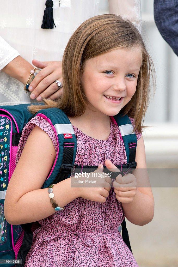 Princess Isabella of Denmark, departs Amalienborg Palace for her first day at Tranegard School, near Copenhagen. on August 13, 2013 in Copenhagen, Denmark.