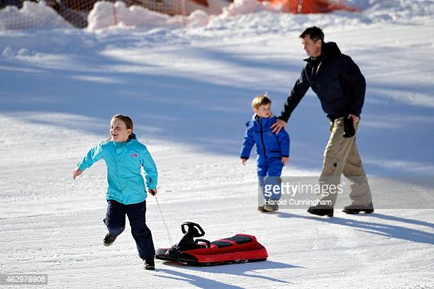 Princess Isabella of Denmark Prince Frederik of Denmark and Prince Vincent of Denmark attend the Danish Royal family annual skiing photocall whilst...