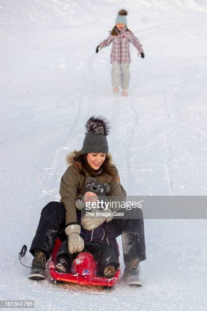 Princess Isabella of Denmark, Princess Mary of Denmark and Princess Josephine of Denmark meet the press, whilst on skiing holiday on February 10,...