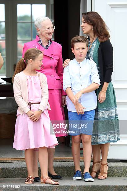 Princess Isabella of Denmark Queen Margrethe II of Denmark Prince Christian of Denmark and Crown Princess Mary of Denmark pose for photographers at...