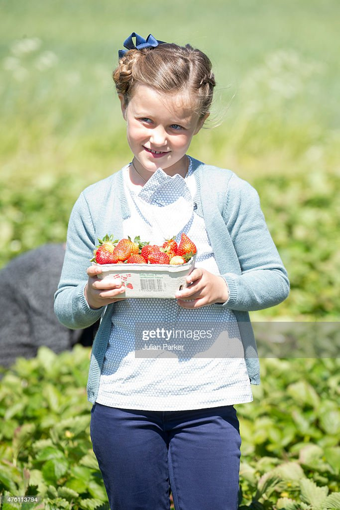 Princess Isabella of Denmark visits a Strawberry Farm during her first day of official engagements onThe Island Of Samso on June 6th, 2015 in Samso, Denmark