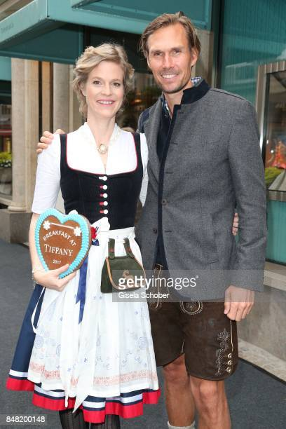 "Princess Isabelle ""Minzi"" zu Hohenlohe-Jagstberg and Tino Schuster during the 'Fruehstueck bei Tiffany' at Tiffany Store ahead of the Oktoberfest on..."