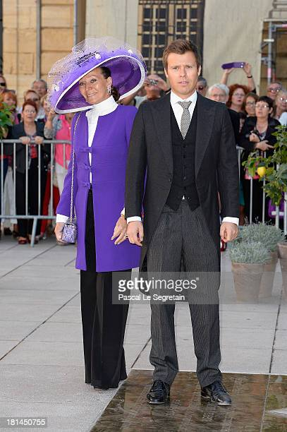 Princess Isabelle Of Liechtenstein and Prince Wenzeslaus Of Liechtenstein attend the Religious Wedding Of Prince Felix Of Luxembourg and Claire...