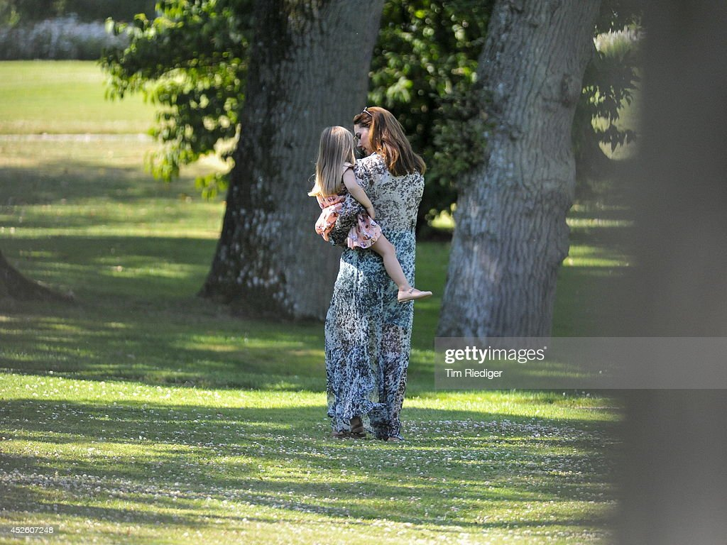 Princess Josephine and Crown princess Mary of Denmark attend the annual summer photo call for the Royal Danish family at Grasten Castle on July 24, 2014 in Grasten, Denmark.