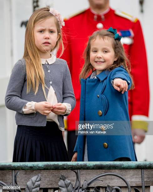 Princess Josephine and Princess Athena of Denmark attend the 77th birthday celebrations of Danish Queen Margrethe at Marselisborg Palace on April 16,...