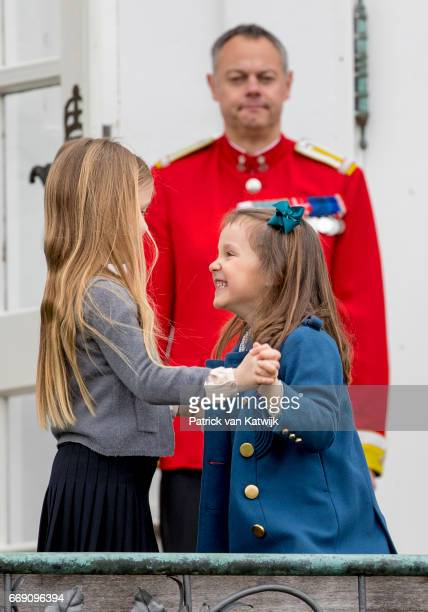 Princess Josephine and Princess Athena of Denmark attend the 77th birthday celebrations of Danish Queen Margrethe at Marselisborg Palace on April 16...