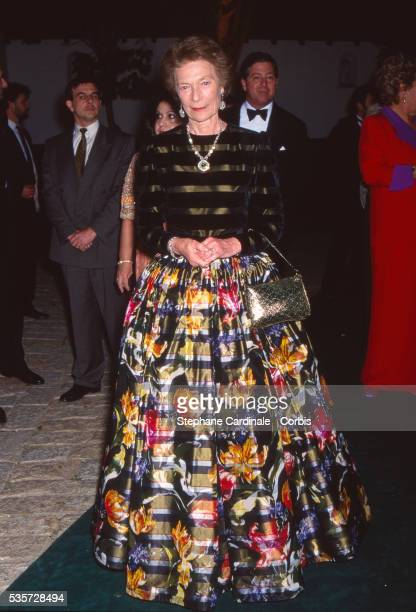 Princess Joséphine Charlotte of Belgium Grand Duchess consort of Luxembourg attends the reception on the eve of the wedding of Infanta Elena Duchess...