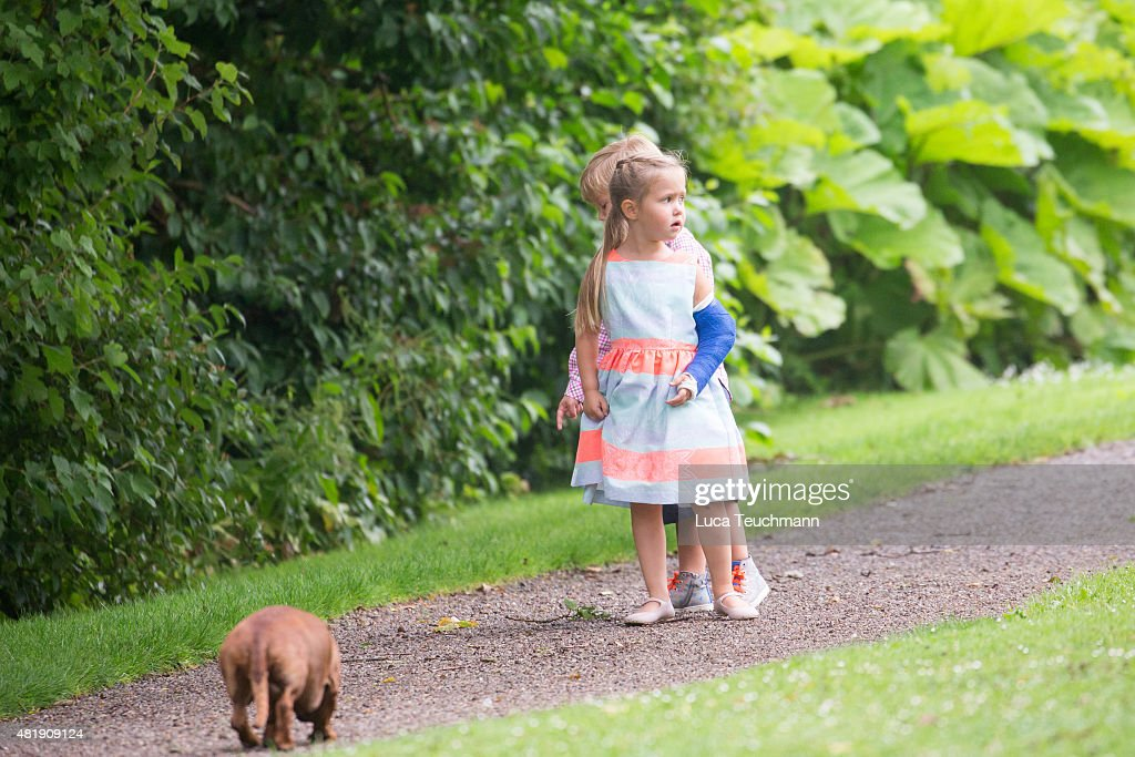 Princess Josephine of Denmark and Prince Vincent of Denmark attend the annual summer Photocall for The Danish Royal Family at Grasten Castle on July 25, 2015 in Grasten, Denmark.