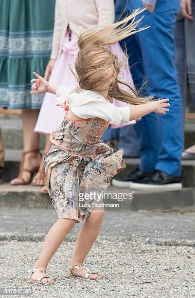 Princess Josephine of Denmark plays during the annual summer photo call for The Danish Royal Family at Grasten Castle on July 25, 2015 in Grasten,...