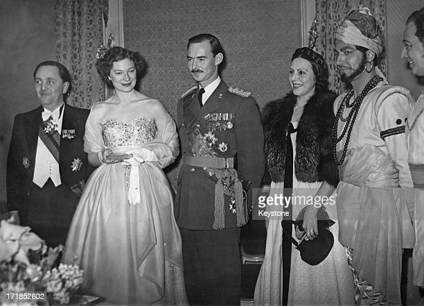 Princess Josephine-Charlotte of Belgium and Grand Duke Jean of Luxembourg attend a fete in Brussels, 21st January 1953.