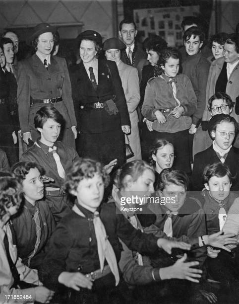 Princess Josephine-Charlotte of Belgium wearing a Girl Guides uniform as she attends the 'Thinking Day' ceremony held by the Girl Guides at Egmont...